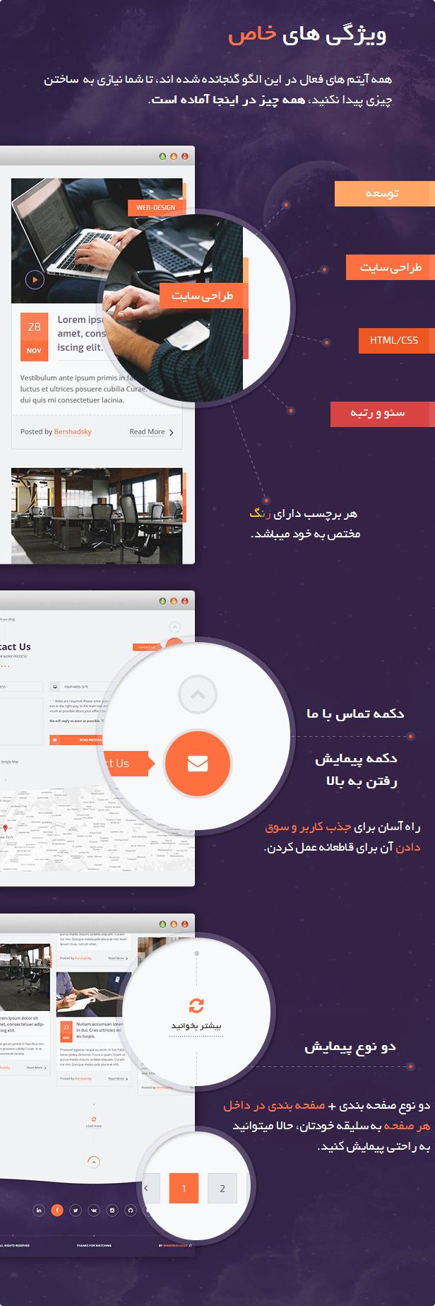 پوسته شرکتی rocket وردپرس فارسی